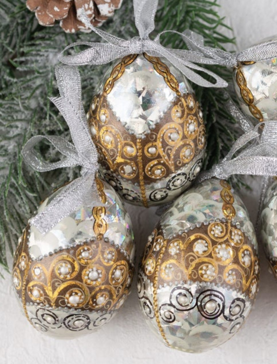 Brown, gold and silver Easter eggs