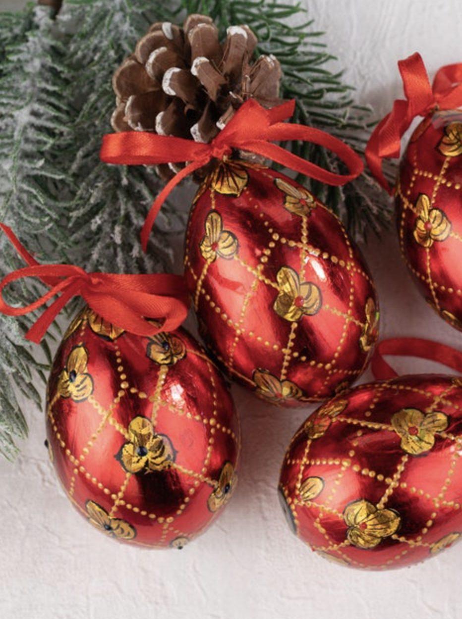 Metallic red Easter eggs