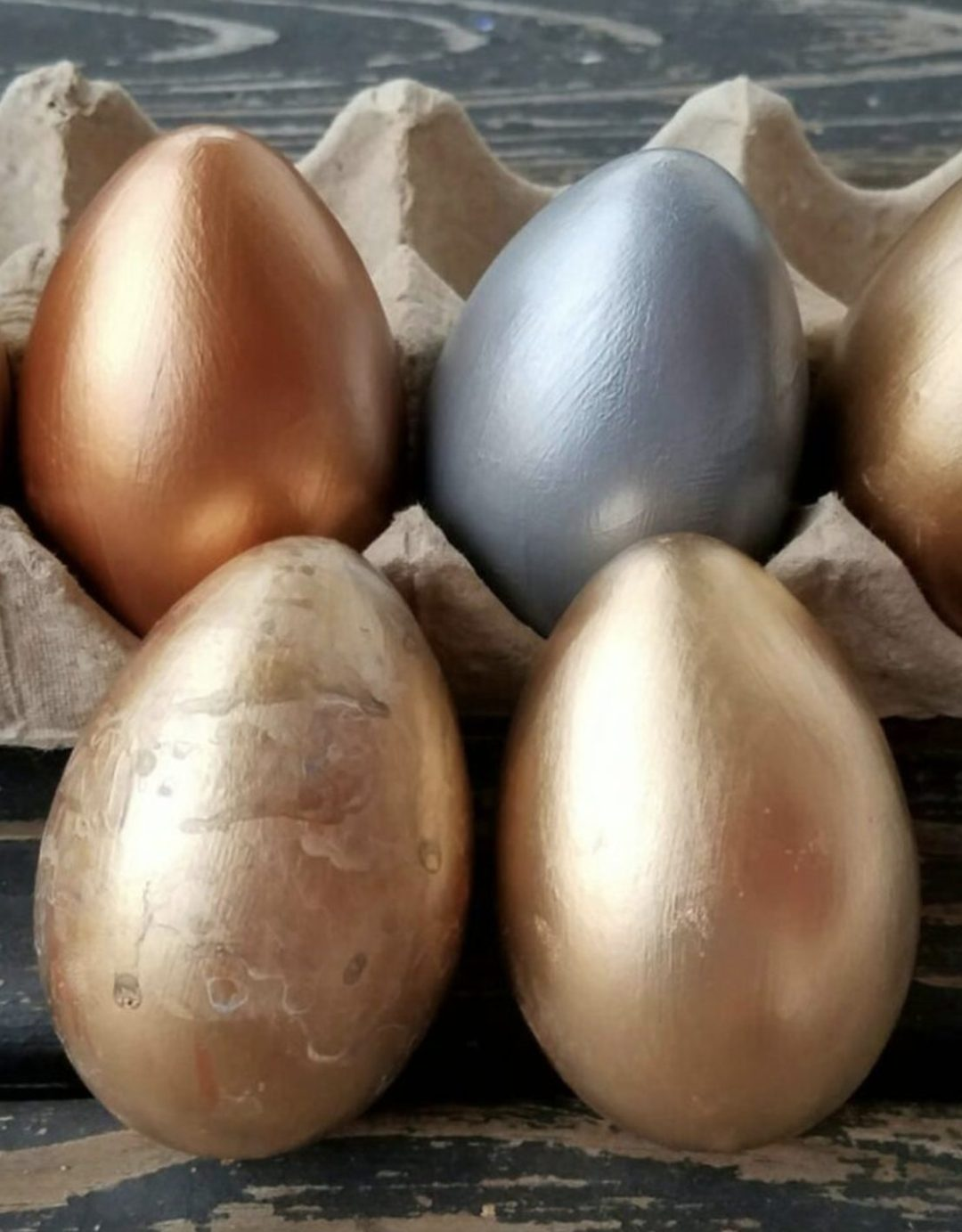 Rose gold, silver and gold Easter eggs