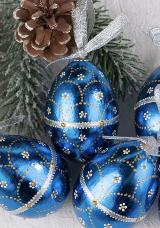 Metallic blue Easter eggs