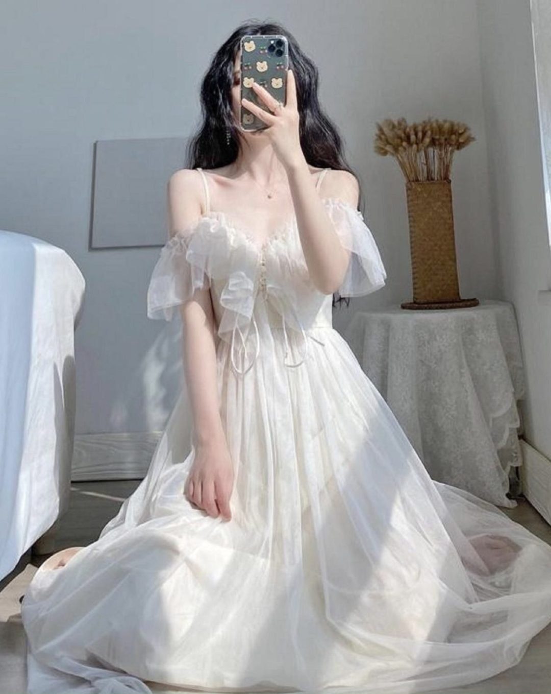 Pretty white cottagecore dresses