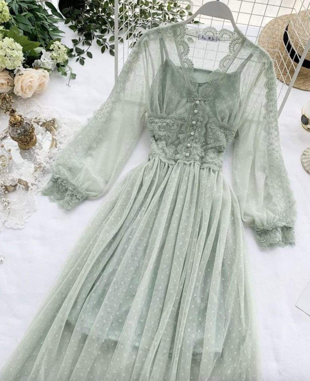 Sage green cottagecore dresses