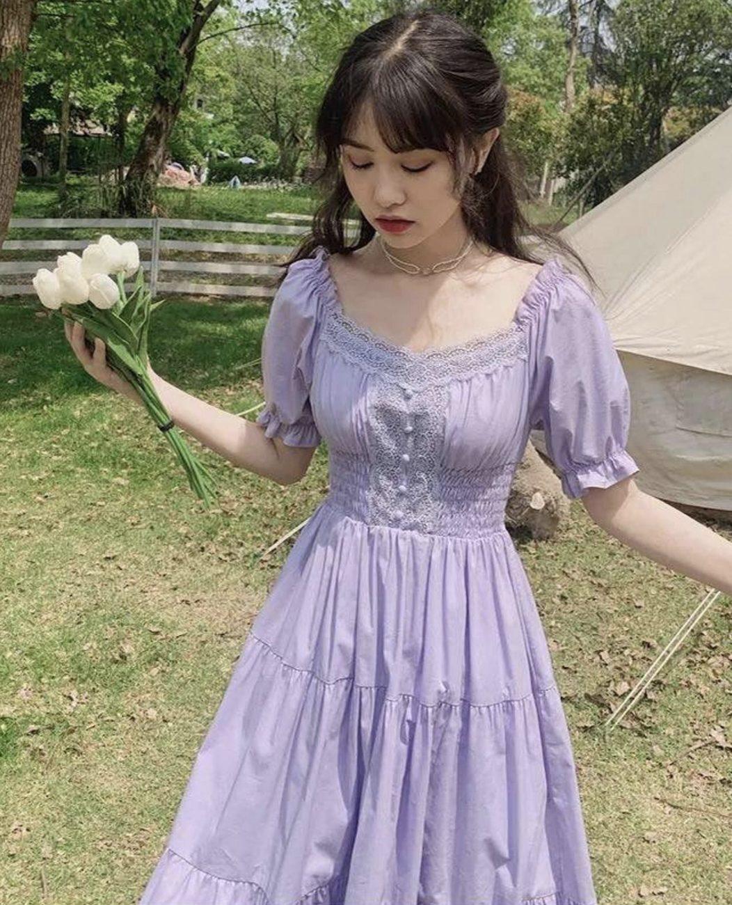 Purple cottagecore dresses