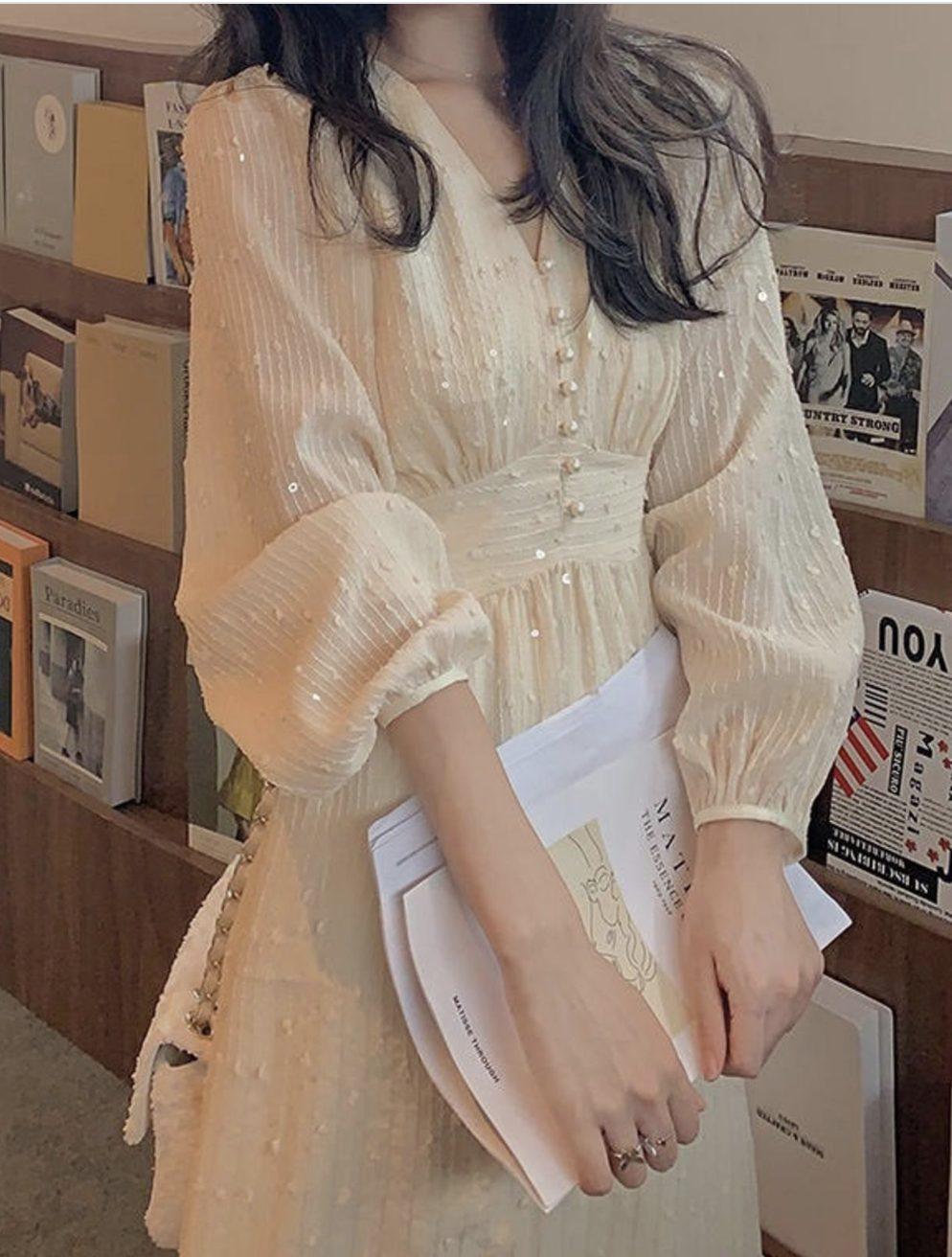 White Victorian cottagecore dresses