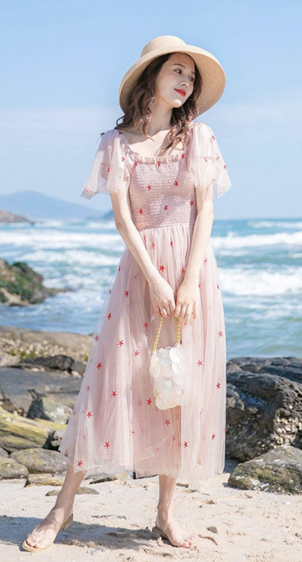 Pink cottagecore dresses with stars