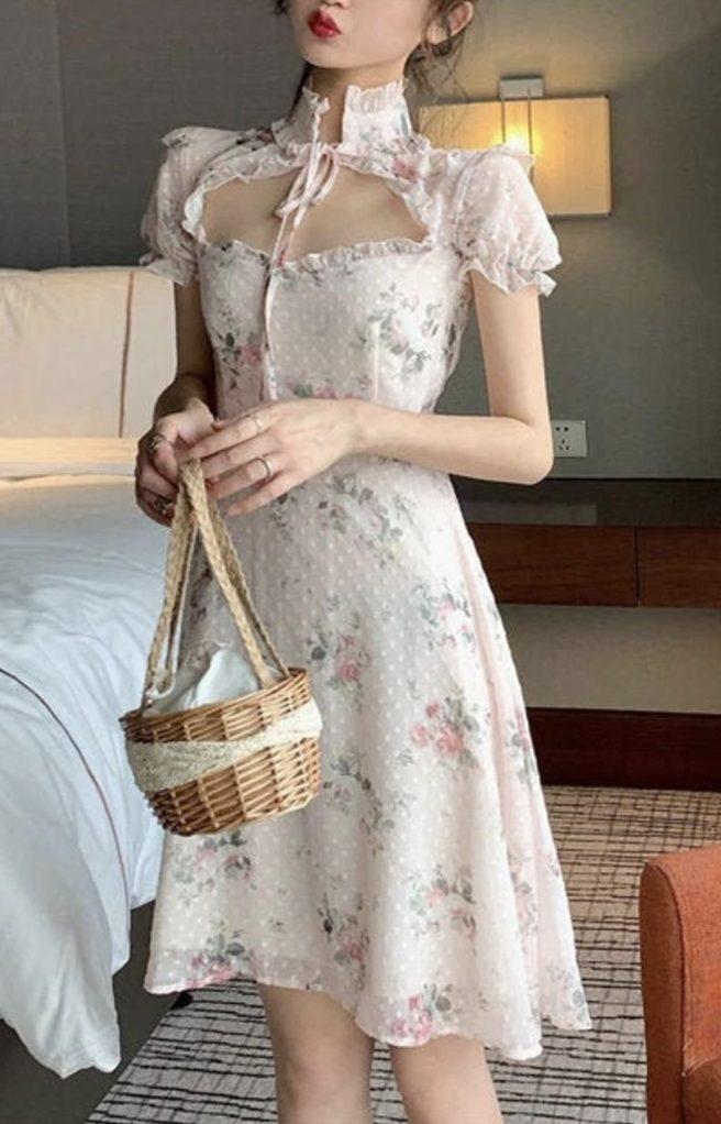 White floral Victorian cottagecore dresses