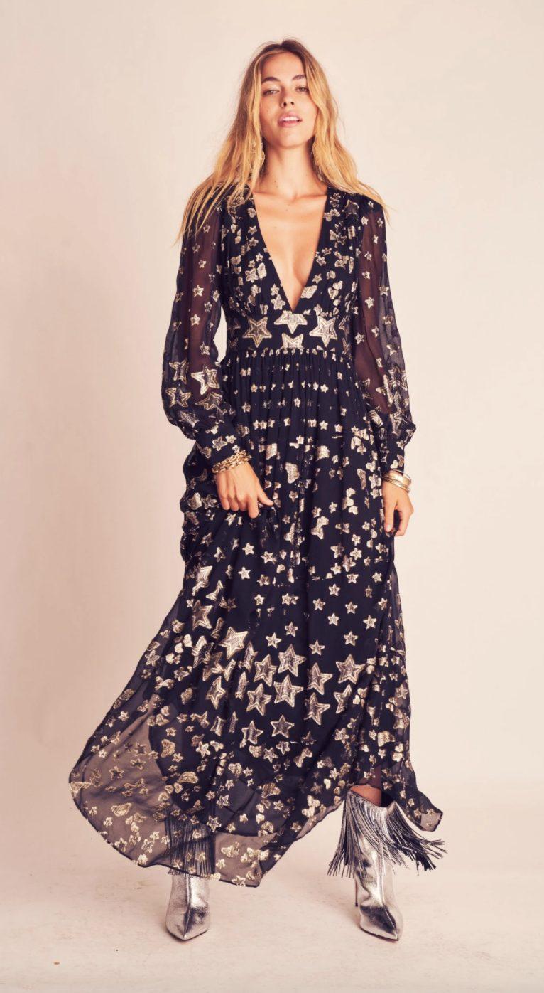 Black cottagecore dresses with stars