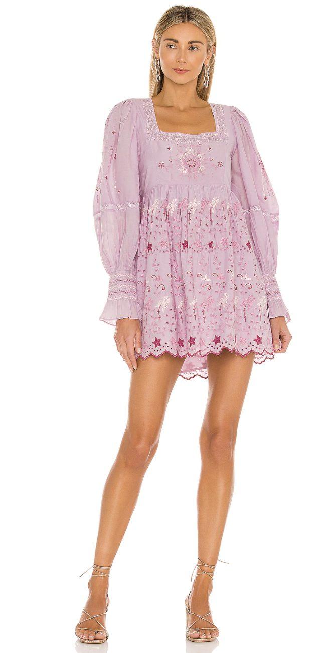 Purple cottagecore mini dresses