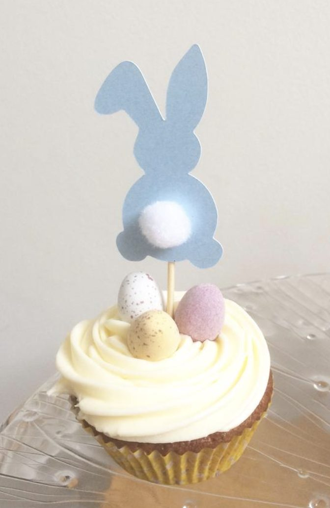 Pastel Easter Bunny Cupcake Toppers