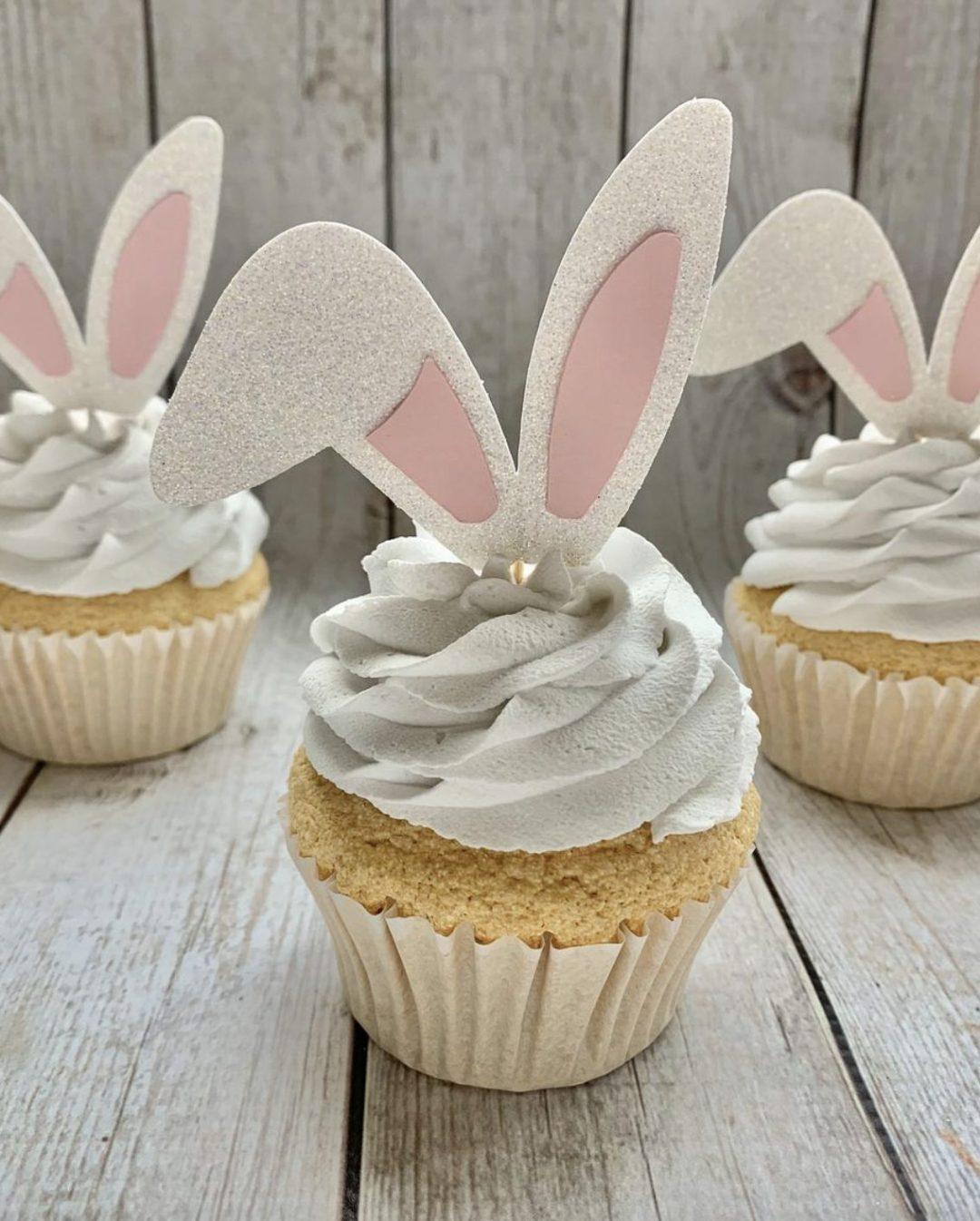 White Easter Bunny Ears Cupcake Toppers