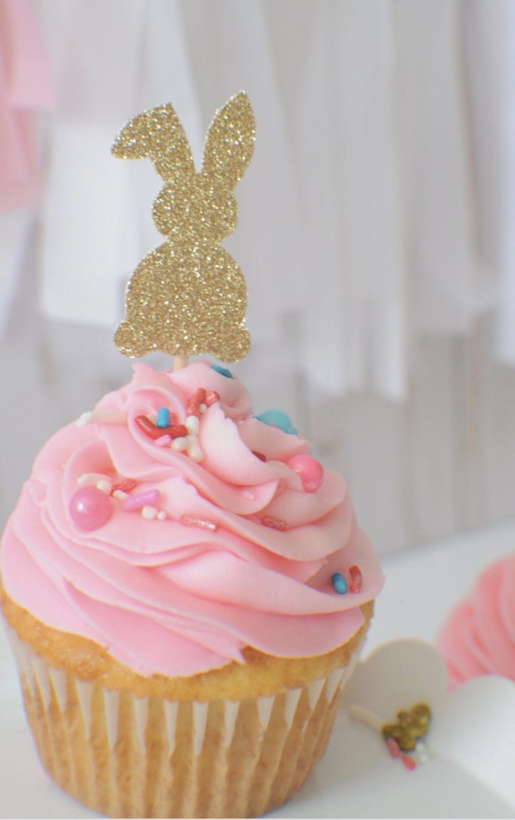 Gold Glitter Easter Bunny Cupcake Toppers