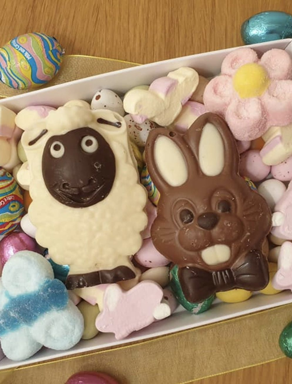 Cute Easter Chocolate Sweet Box With Bunny And Sheep