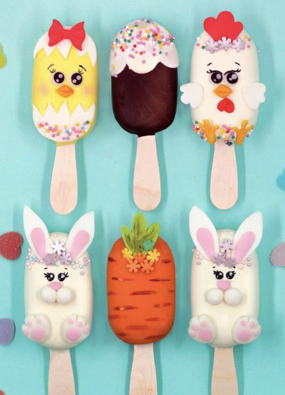 Cute Decorated Easter Cakesicles With Bunny, Chick, Egg and Carrot