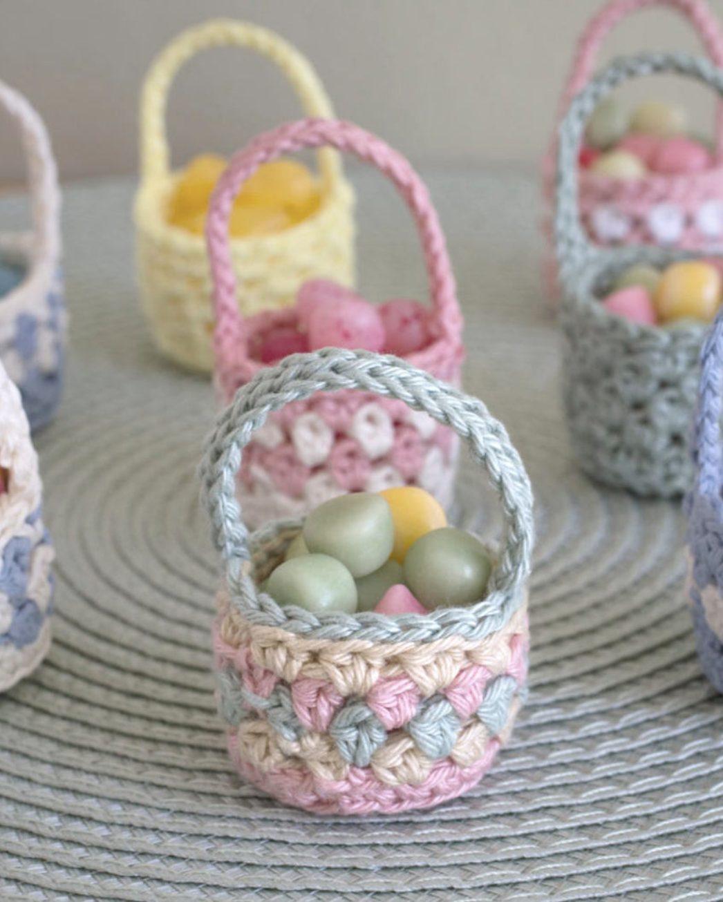 Mini Easter Basket Crochet Pattern For Jelly Beans