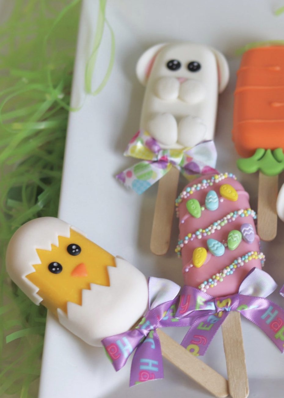 Cute Easter Cakesicles With Bunny and Chick