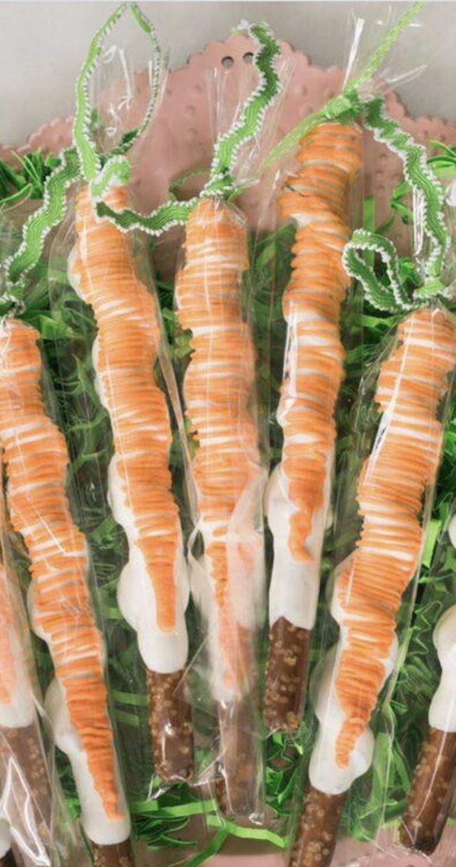 Cute Easter Carrot Chocolate Pretzels