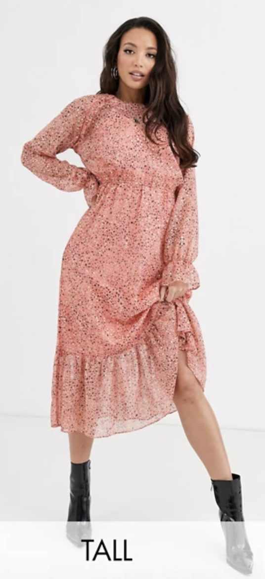 Pink floral dress with ruffles