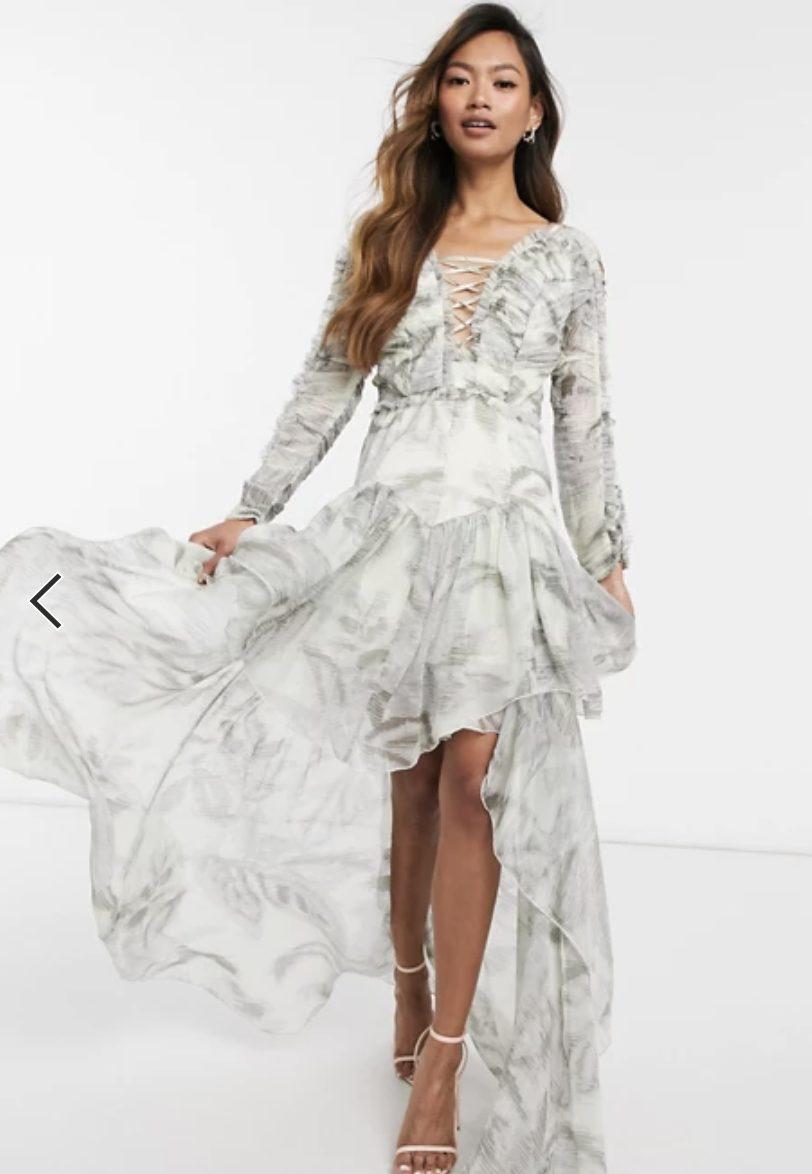 Grey maxi dress with chiffon