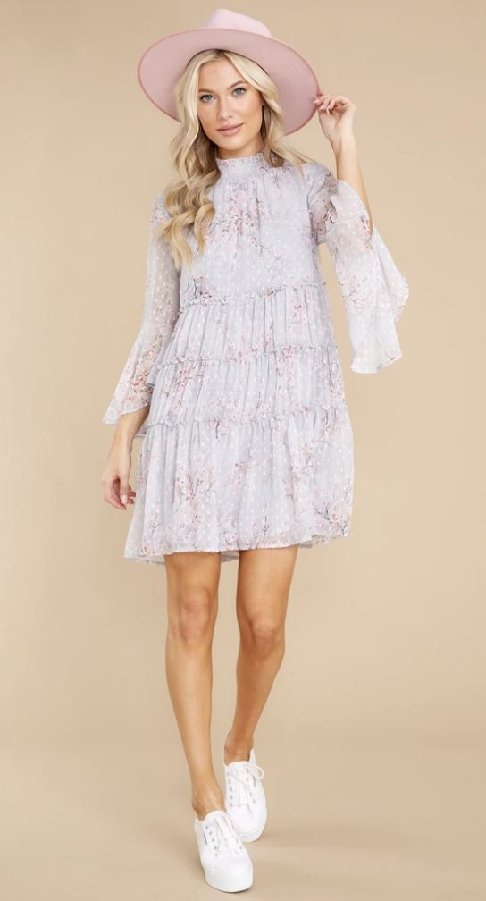 Floral cottagecore mini dress with long sleeves