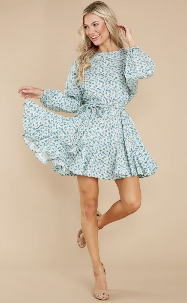 Blue floral cottagecore mini dresses with long sleeves