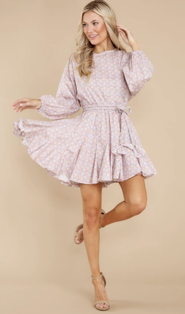 Pink floral cottagecore dresses with long sleeves