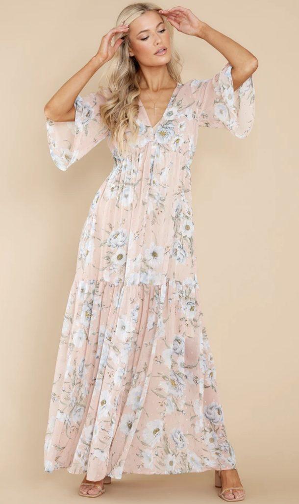 Pink floral prairie dress