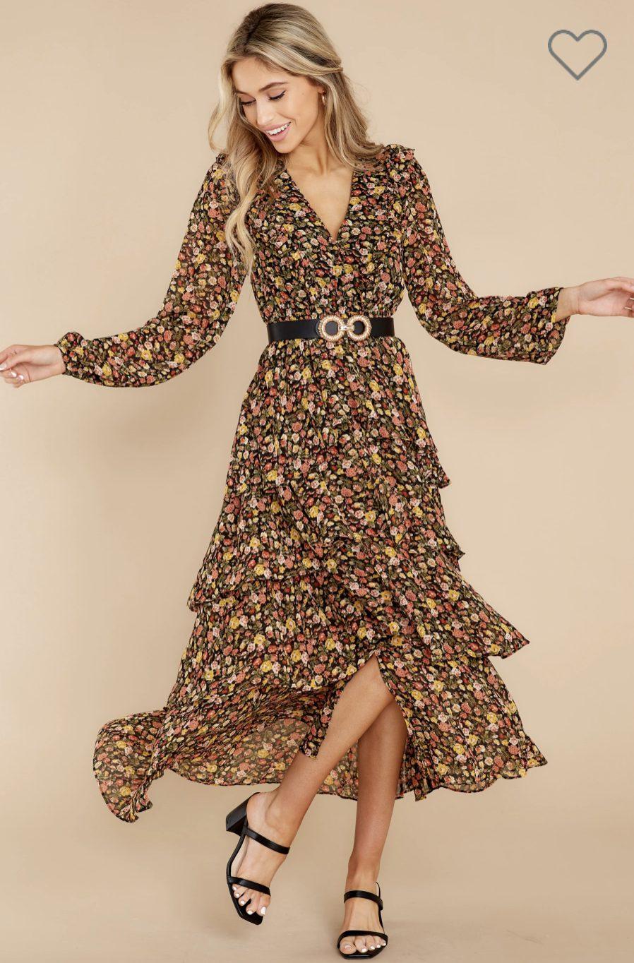 Pattern boho maxi dress with long sleeves