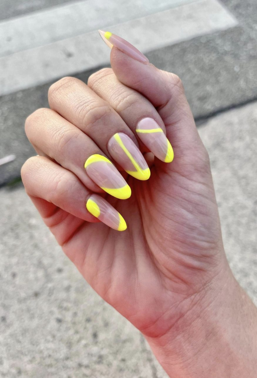 Neon yellow summer swirl nails