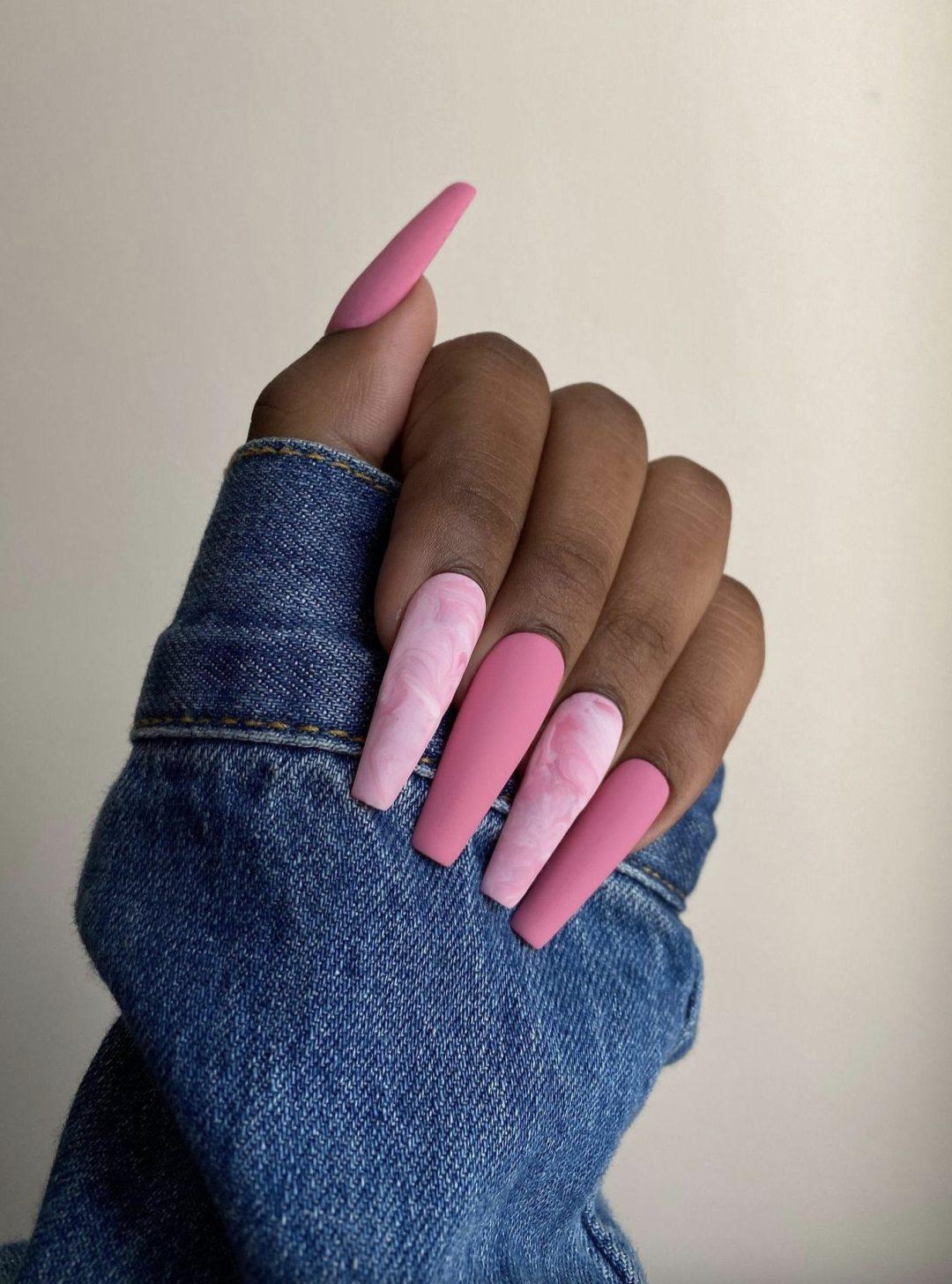 Matte bubblegum pink coffin nails