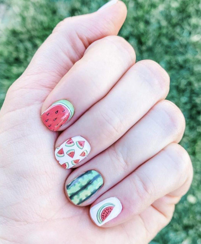 Cute watermelon nail wraps for summer