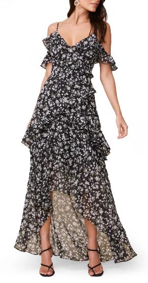 Black floral boho maxi dress with ruffles