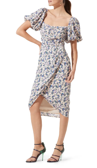 Floral dress with puffy sleeves