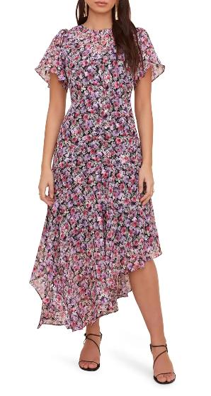 Floral boho maxi dress with ruffles