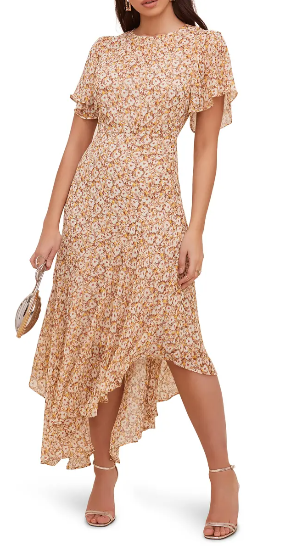 Yellow floral boho maxi dress with ruffles