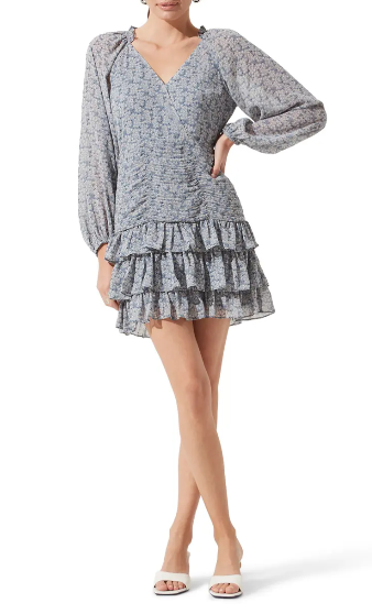 Blue floral boho mini dress with ruffles and long sleeves