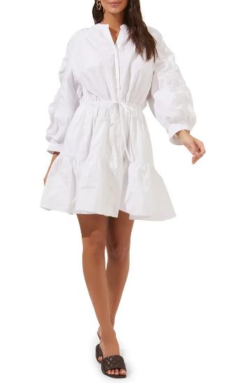 White puffed boho dress