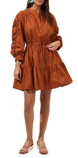 Brown puffed boho dress