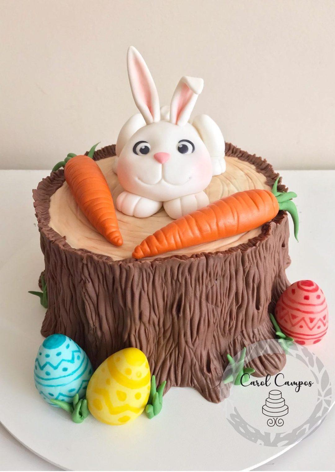Woodland Bunny And Tree Trunk Cake