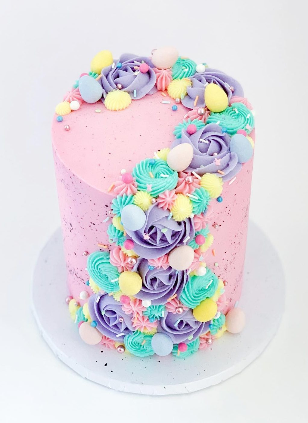 Colorful and Pink Easter Pastel Cake With Meringue