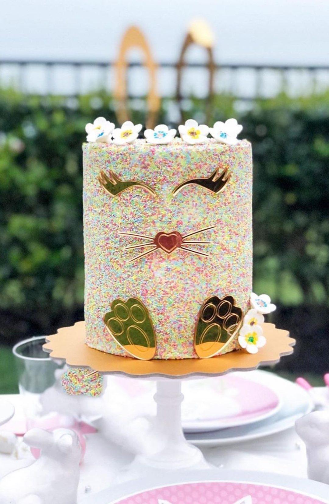 Cute Easter Bunny Sprinkle Cake