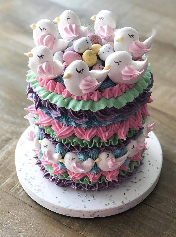 Cute Bird Meringue Cake