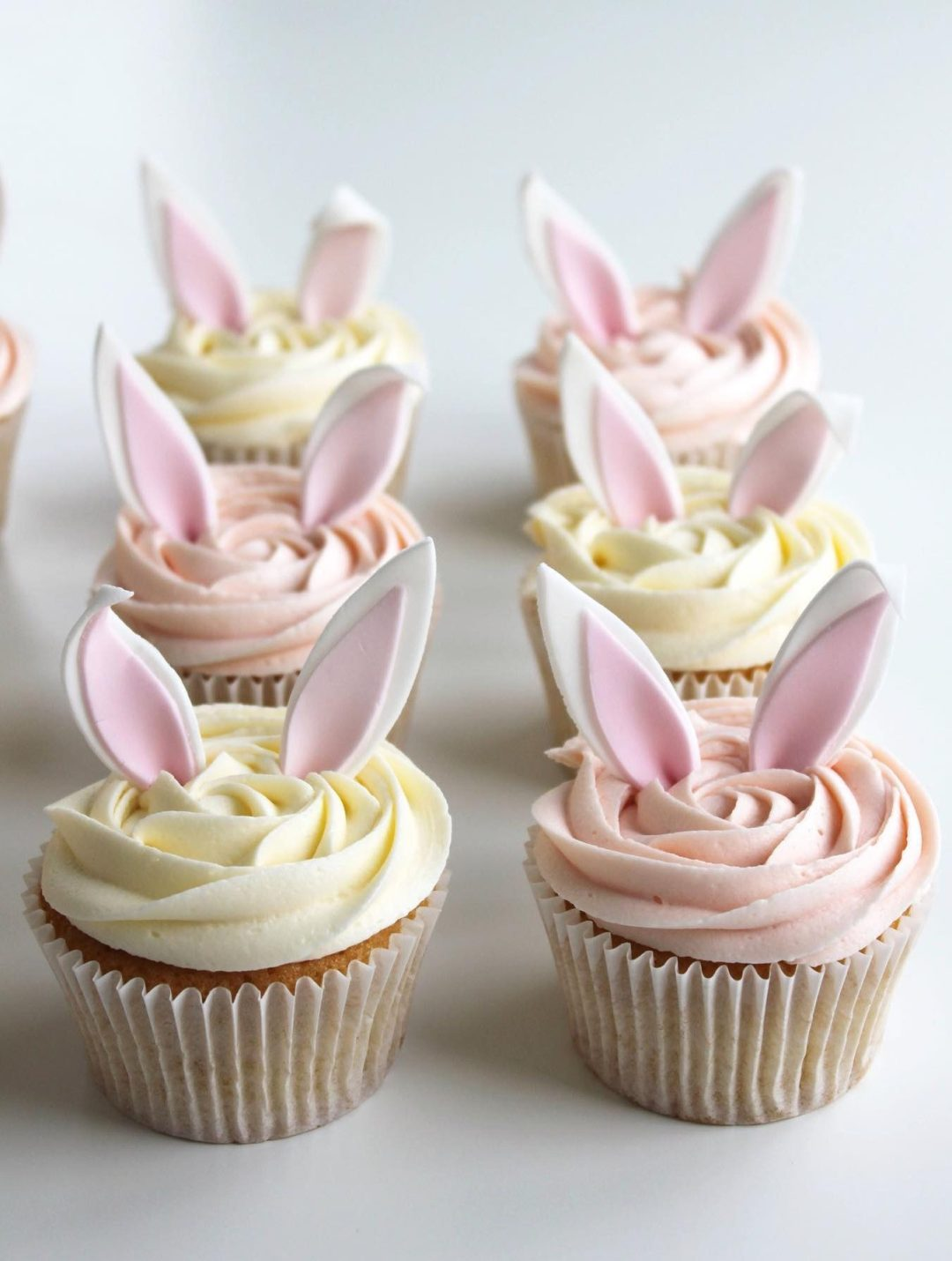 White And Pink Bunny Cupcakes With Toppers
