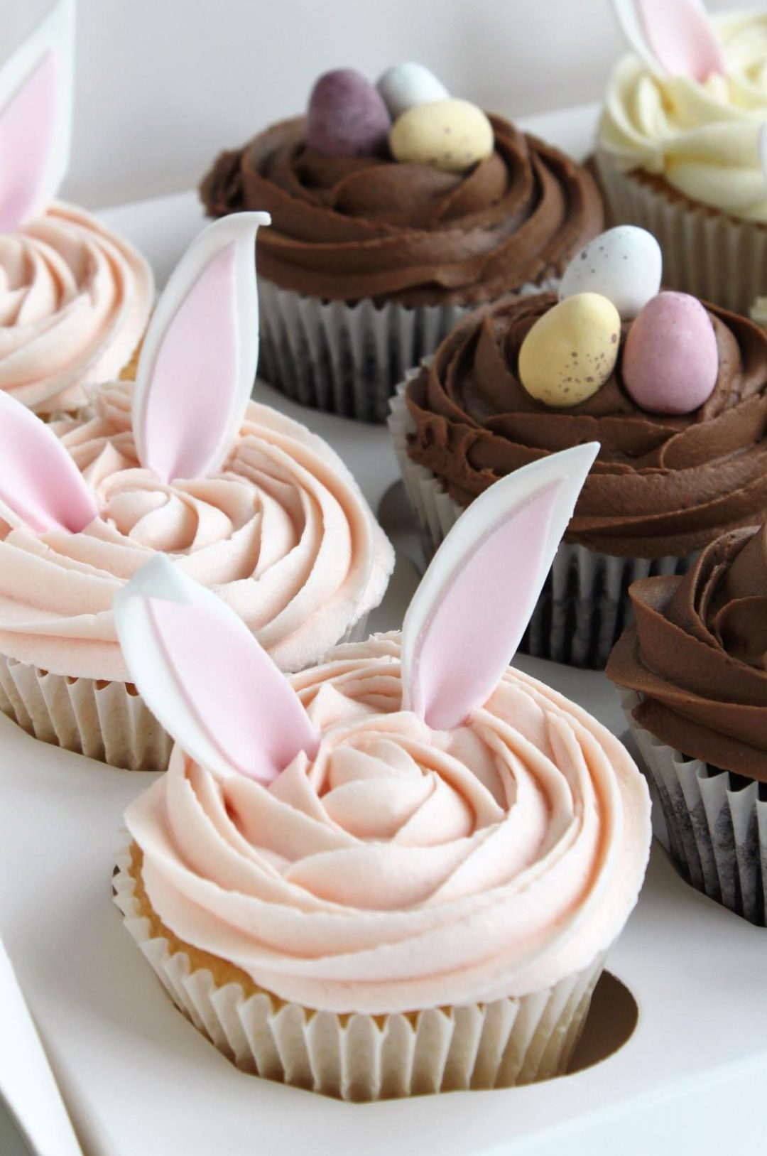 Pink Bunny Cupcakes With Toppers