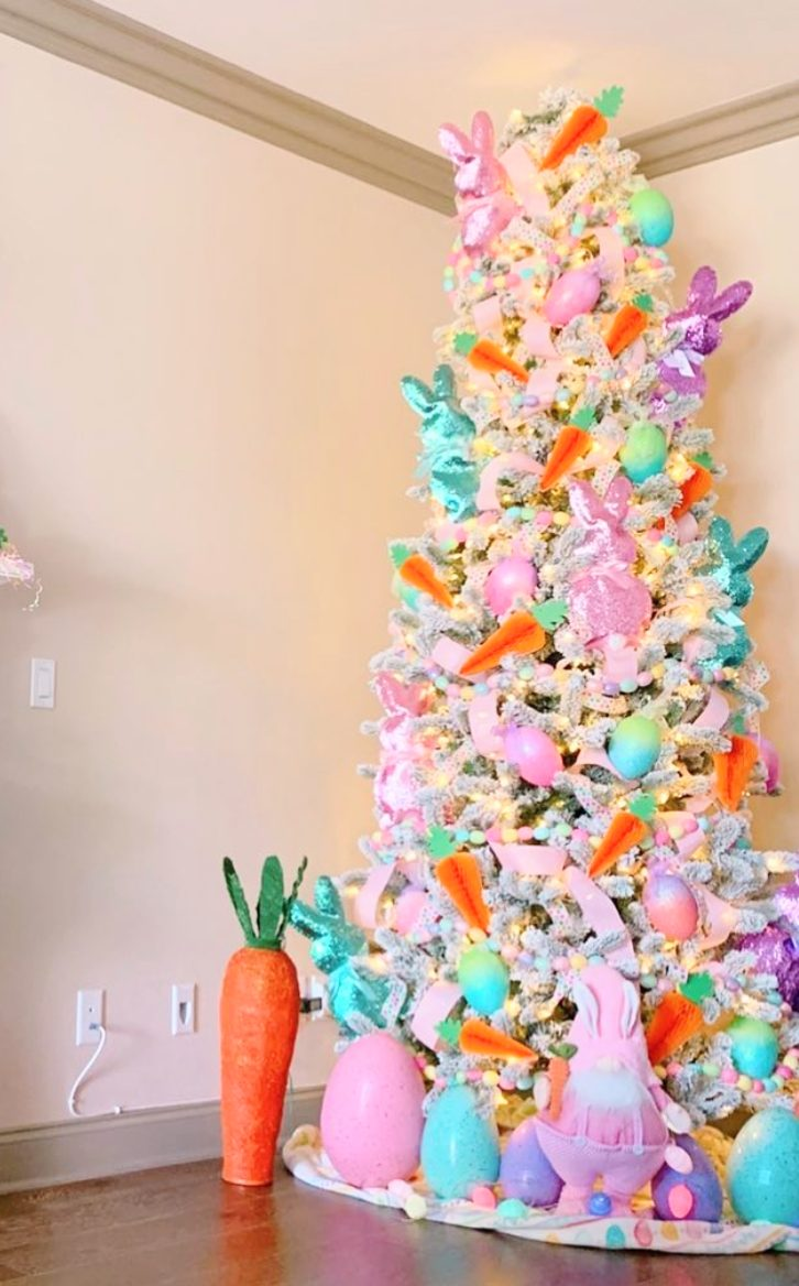 Big pastel Easter tree decorating ideas