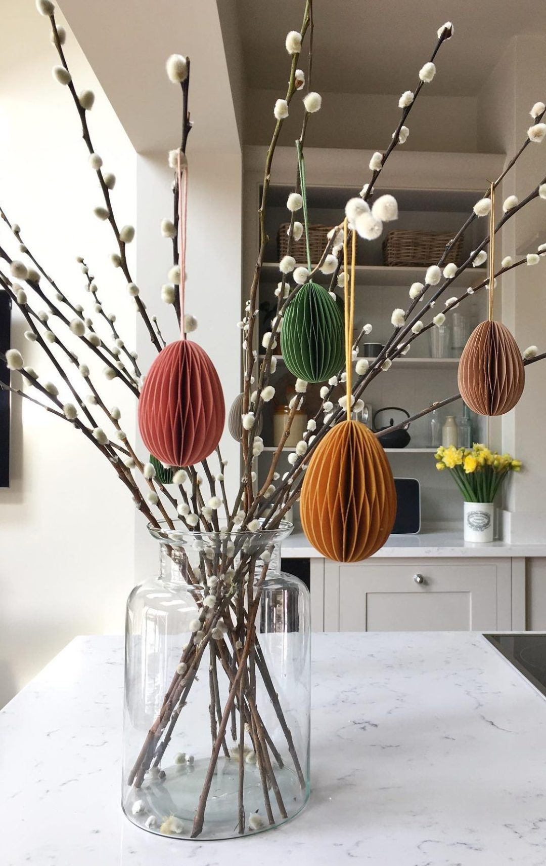 Elegant pussy willow stems with Easter tree decorations