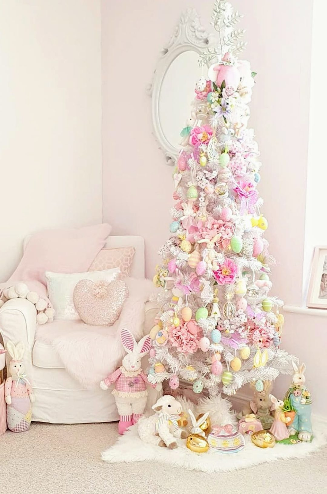 Pastel pink Easter tree ideas with egg decorations