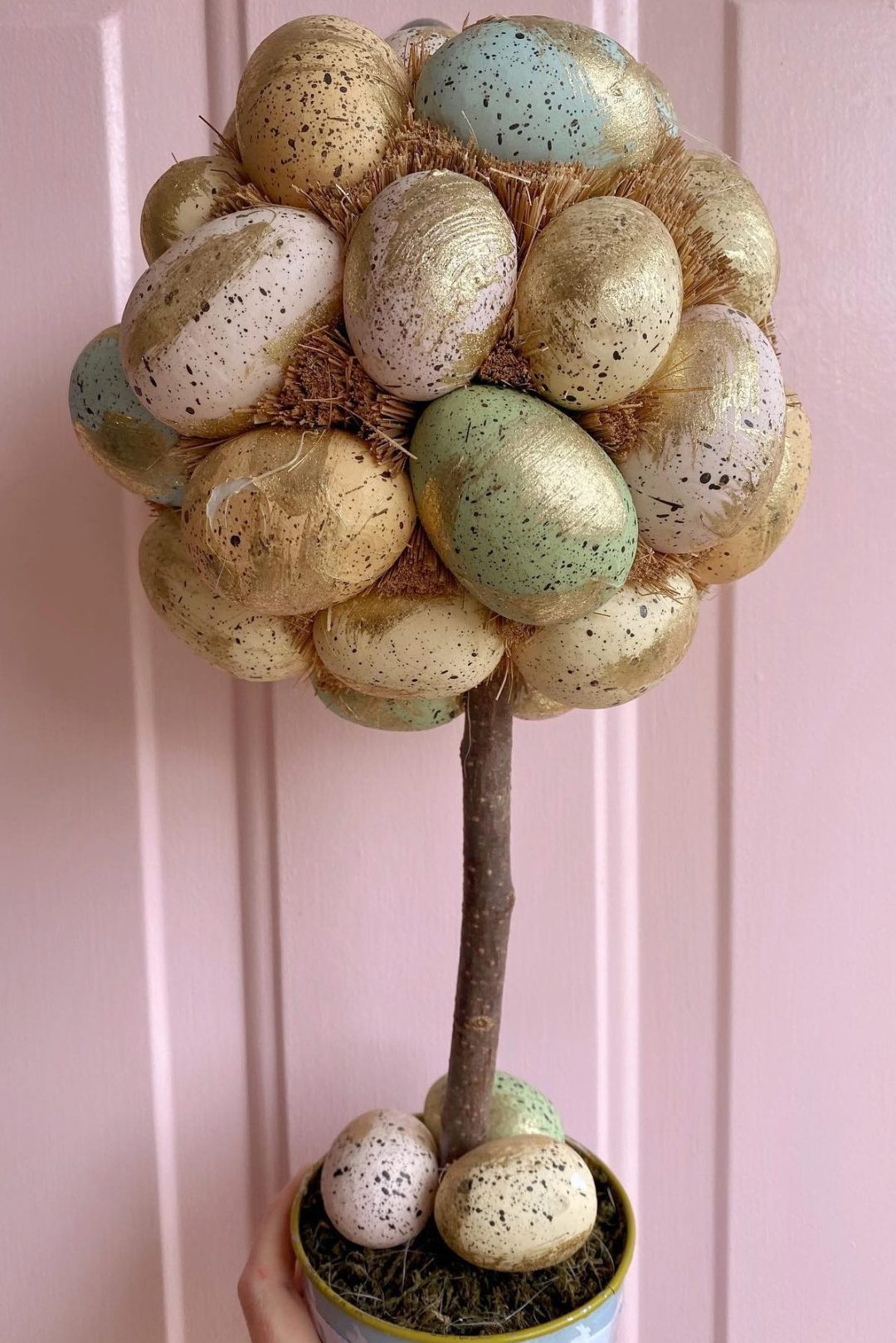 Gold Easter topiary tree with eggs