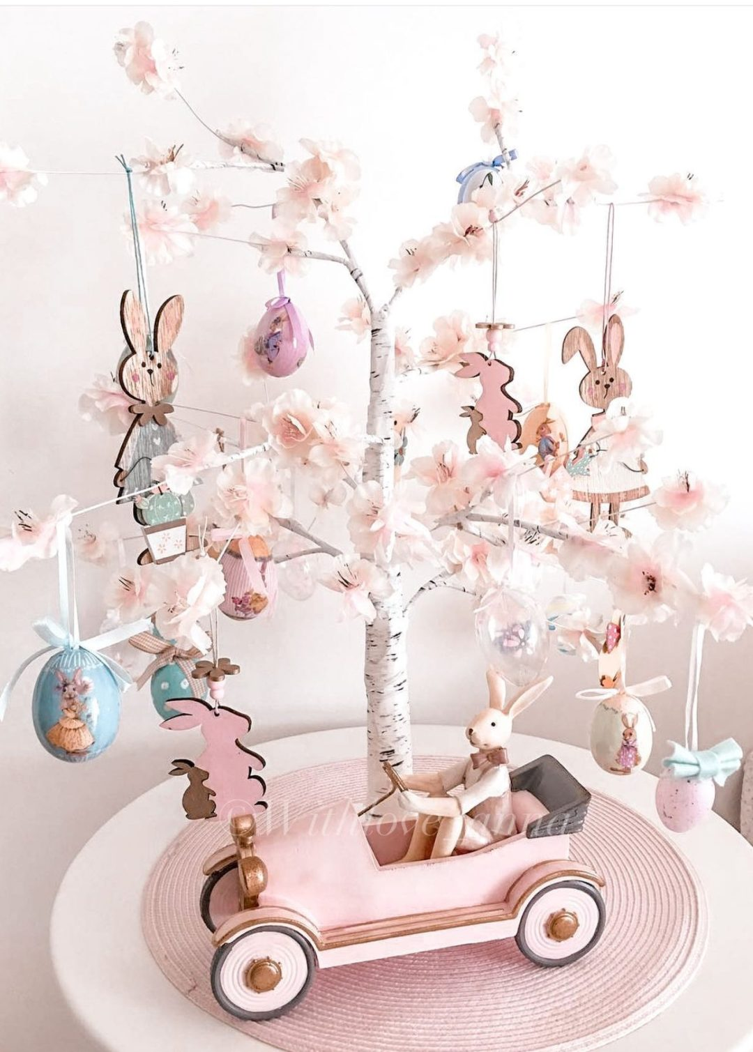 Easter birch tree ideas with pink decorations