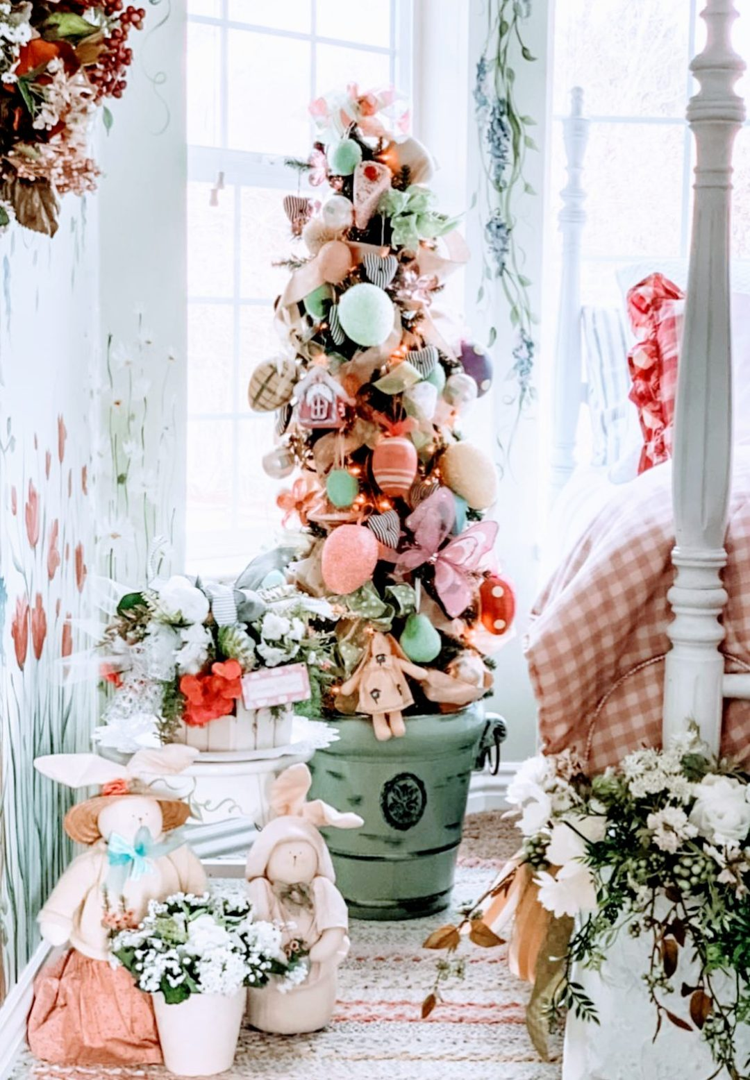 Easter tree decorations with burlap and eggs