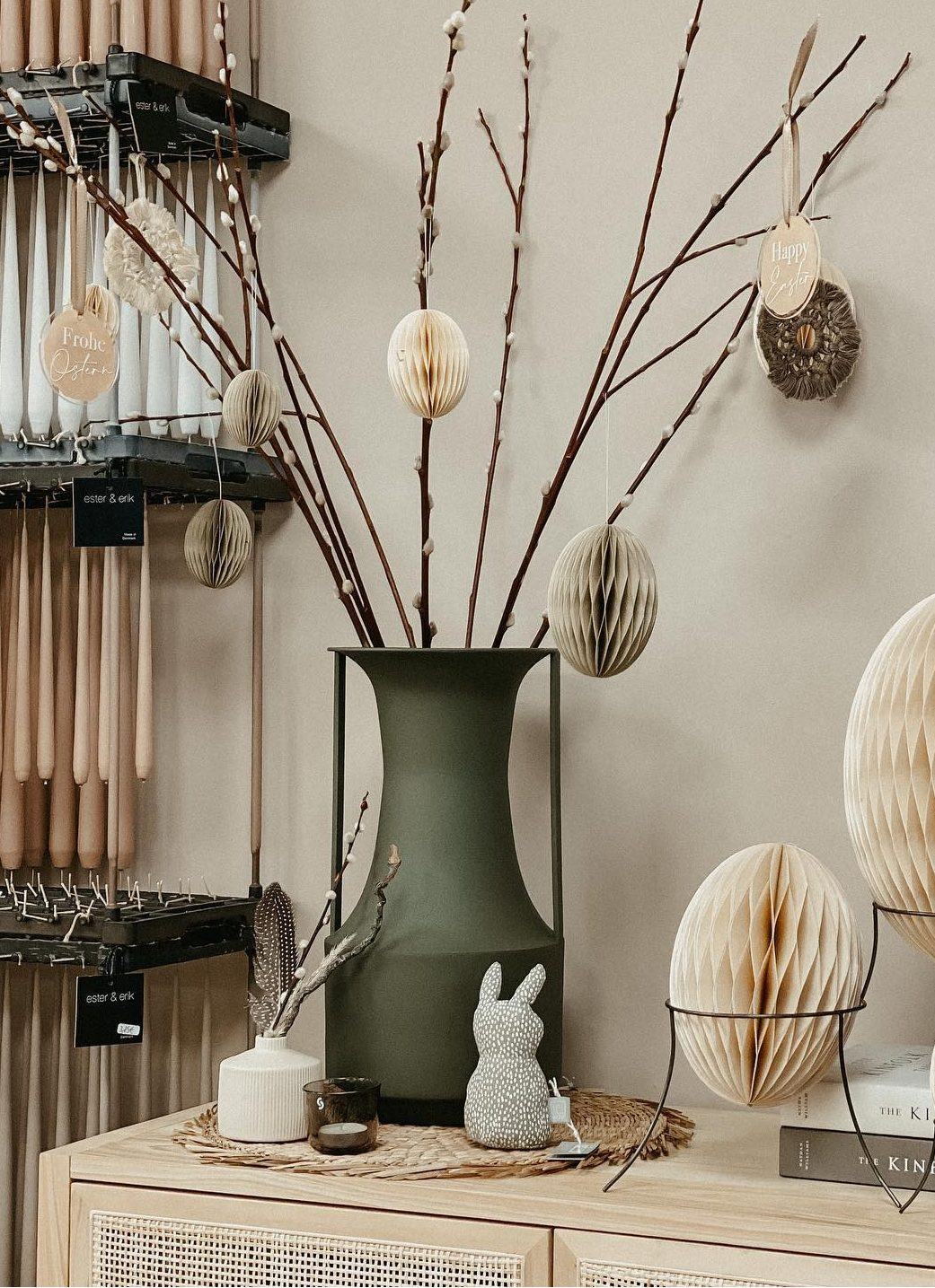Minimalist Scandinavian style Easter tree ideas with pussy willow stems
